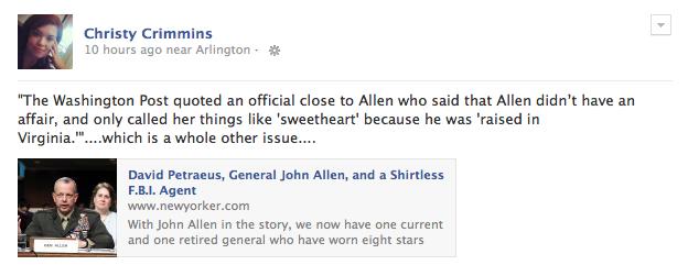 Christy's smart a** Facebook Post